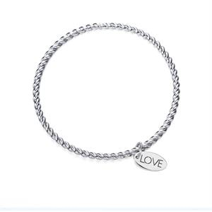 PULSERA LUXURY RIGIDA LOVE RECUBIERTO DE RODIO